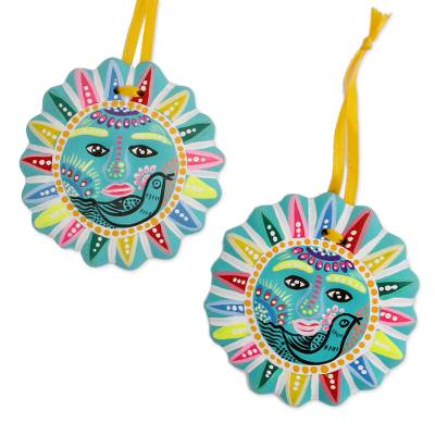 Ceramic ornaments, 'Docile Sun' (pair) - Bird-Themed Ceramic Sun Ornaments from Mexico (Pair)