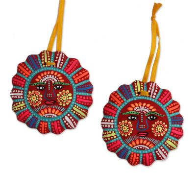 Ceramic ornaments, 'Immortal Sun' (pair) - Hand-Painted Ceramic Sun Ornaments in Crimson (Pair)