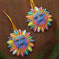 Ceramic ornaments, 'Mysterious Sun' (pair) - Floral Ceramic Sun Ornaments from Mexico (Pair)