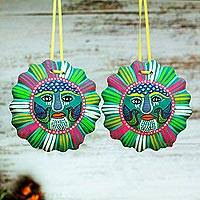 Ceramic ornaments, 'Understanding Sun' (pair) - Hand-Painted Ceramic Sun Ornaments in Turquoise (Pair)