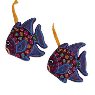 Ceramic ornaments, 'Fish Dance' (pair) - Hand-Painted Ceramic Fish Ornaments in Blue (Pair)