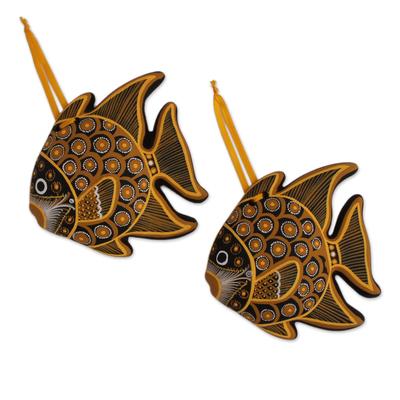Hand-Painted Ceramic Fish Ornaments in Brown (Pair)