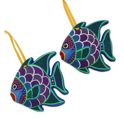 Hand-Painted Ceramic Fish Ornaments from Mexico (Pair)