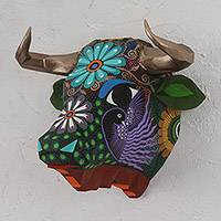 Hand-painted wall sculpture, 'Floral Bull' - Hand-Painted Floral Bull Wall Sculpture from Mexico
