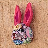 Hand-painted wall sculpture, 'Sweet Rabbit' - Hand-Painted Eco-Friendly Rabbit Wall Sculpture from Mexico