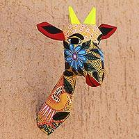 Hand-painted wall sculpture, 'Floral Giraffe' - Hand-Painted Floral Giraffe Wall Sculpture from Mexico