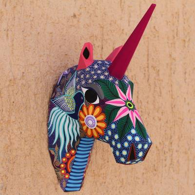 Hand-painted wall sculpture, Floral Unicorn
