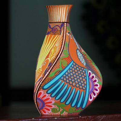 Hand-painted decorative vase, 'Natural Sunset' - Hand-Painted Eco-Friendly Decorative Vase in Orange
