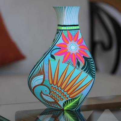 Hand-painted decorative vase, 'Path of Destiny' - Hand-Painted Eco-Friendly Decorative Vase in Blue