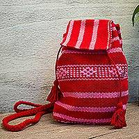 Cotton mini backpack, 'Crimson Security' - Handwoven Cotton Mini Backpack in Crimson and Orchid