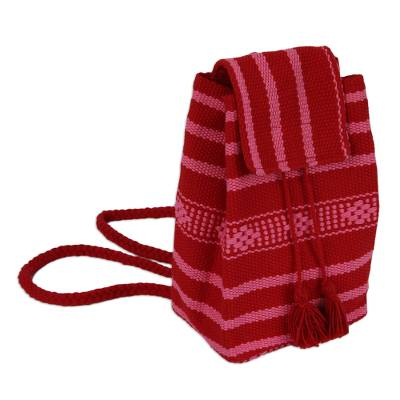 Handwoven Cotton Cell Phone Bag in Crimson and Orchid