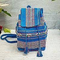 Cotton cell phone bag, 'Azure Delight' - Handwoven Cotton Cell Phone Bag in Azure from Mexico