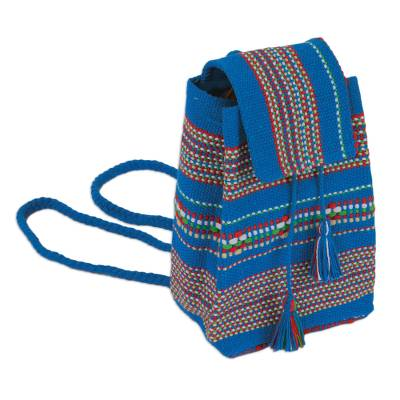 Handwoven Cotton Cell Phone Bag in Azure from Mexico