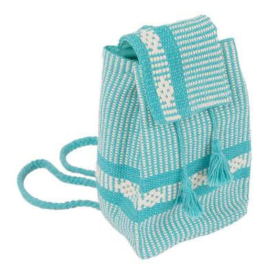 Handwoven Cotton Cell Phone Bag in Emerald from Mexico
