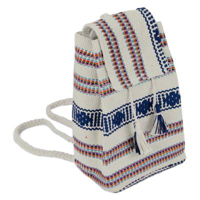 Handwoven Cotton Cell Phone Bag in Khaki from Mexico