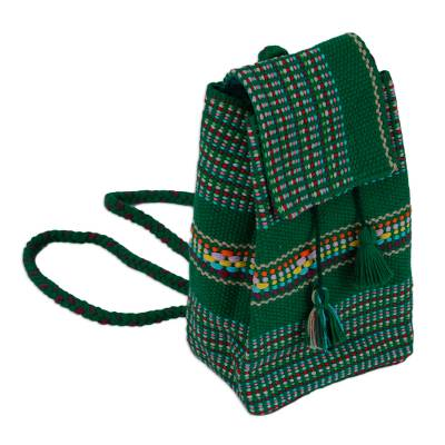 Handwoven Cotton Cell Phone Bag in Viridian from Mexico