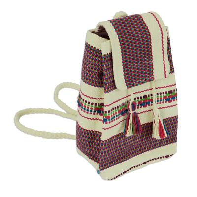 Handwoven Cotton Cell Phone Bag in Buff and Rainbow