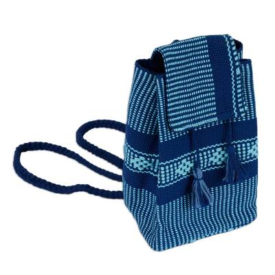 Geometric Pattern Cotton Cell Phone Bag in Blue from Mexico