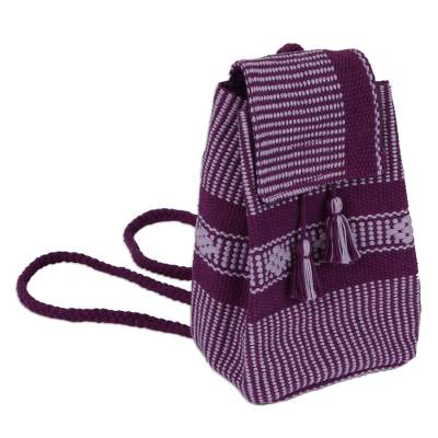 Geometric Pattern Cotton Cell Phone Bag in Purple