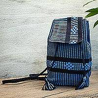 Cotton cell mini backpack, 'Geometric Delight in Cerulean' - Geometric Pattern Cotton Mini Backpack in Cerulean