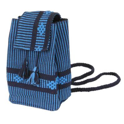 Geometric Pattern Cotton Mini Backpack in Cerulean