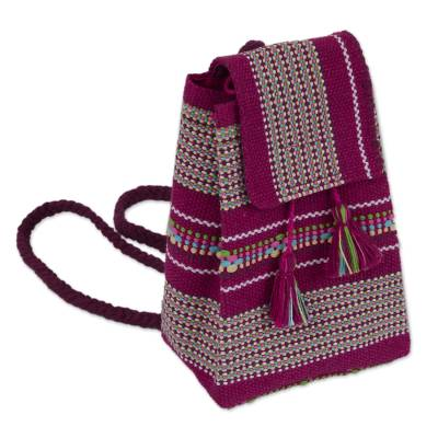 Handwoven Cotton Cell Phone Bag in Magenta and Multicolor