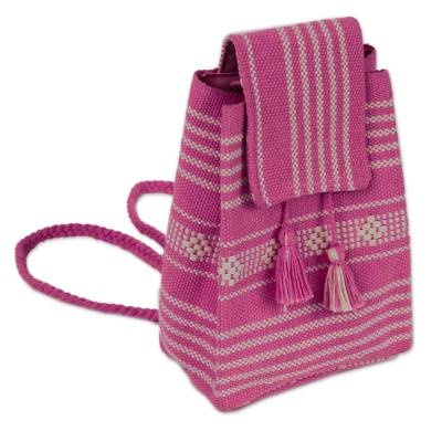 Handwoven Cotton Cell Phone Bag in Fuchsia from Mexico