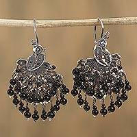 Sterling silver filigree chandelier earrings, 'Dark Peacock' - Sterling Silver Filigree and Dark Crystal Chandelie Earrings