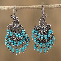 Agate filigree waterfall earrings,