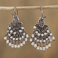 Cultured pearl filigree chandelier earrings, 'Peacock Rain' - Cultured Pearl Filigree Chandelier Earrings from Mexico
