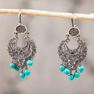 Sterling silver filigree chandelier earrings, 'Crescent Passion' - Silver Filigree Chandelier Earrings from Mexico