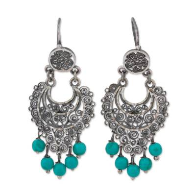 Silver Filigree Chandelier Earrings from Mexico