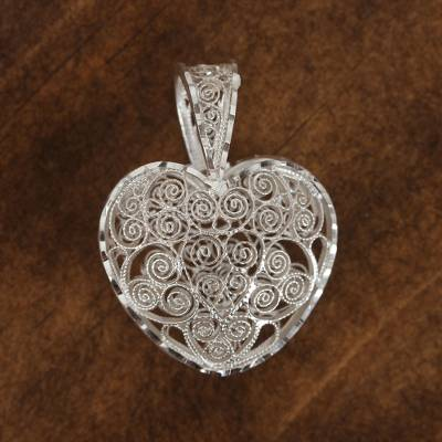 Sterling silver filigree pendant, 'Heart Perfection' - Sterling Silver Filigree Heart Pendant from Mexico