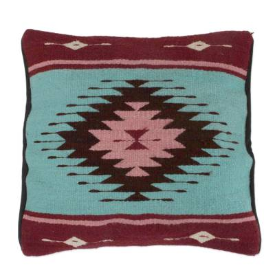 Geometric Handwoven Wool Cushion Cover from Mexico