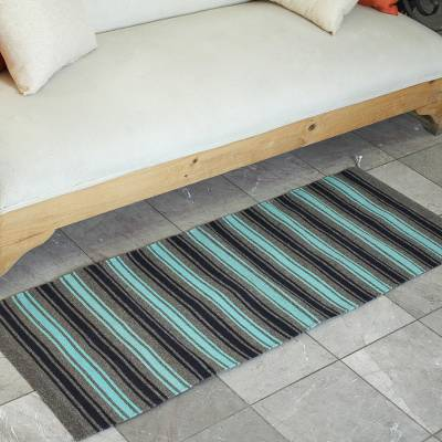 Wool runner rug, 'Sea Green Stripes' (1.5x4.5) - Striped Wool Area Rug from Mexico (1.5x4.5)