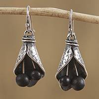 Sterling silver and ceramic dangle earrings,