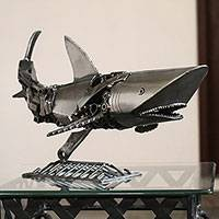 Upcycled metal auto part sculpture, 'Mechanical Shark' - Upcycled Metal Auto Part Shark Sculpture from Mexico