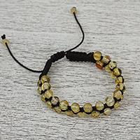 Amber beaded macrame bracelet, 'Beads of Desire' - Natural Amber Beaded Macrame Bracelet from Mexico