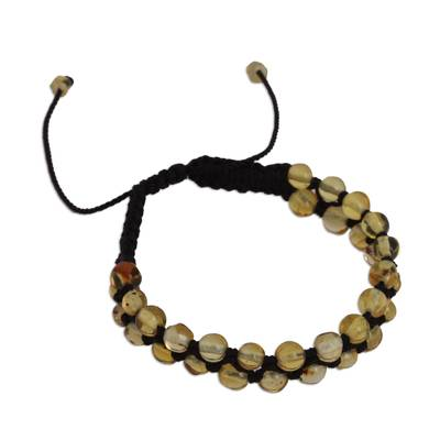 Natural Amber Beaded Macrame Bracelet from Mexico