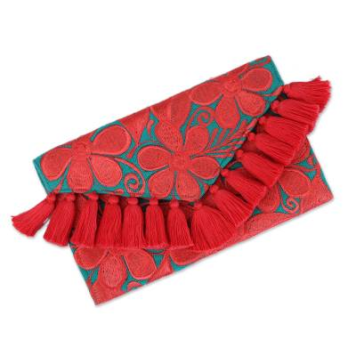 Cotton Clutch with Deep Rose Floral Embroidery from Mexico