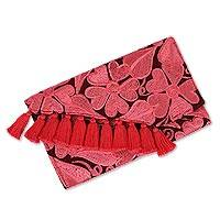 Embroidered cotton clutch, 'Floral Blush' - Cotton Clutch with Blush Floral Embroidery from Mexico