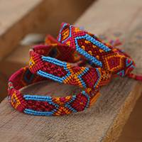 Cotton wristband bracelets, 'Holi Colors' (set of 3) - Bright Cotton Wristband Bracelet from Mexico (Set of 3)