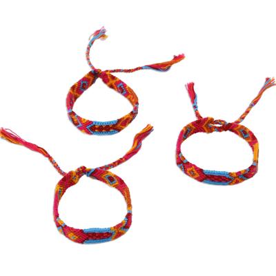 Cotton wristband bracelets, 'Forever Friends' (set of 3) - Bright Cotton Wristband Bracelet from Mexico (Set of 3)