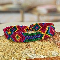 Cotton wristband bracelets, 'Mandala Geometry' (set of 3) - Multicolored Cotton Wristband Bracelets (Set of 3)