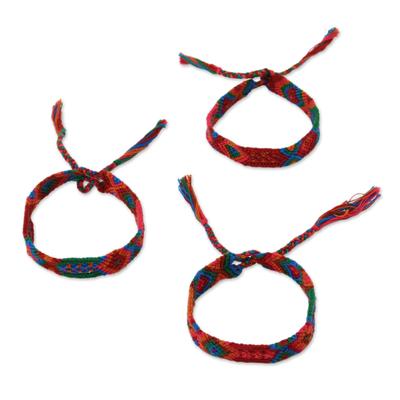 Cotton wristband bracelets, 'Deep Color' (set of 3) - Colorful Cotton Wristband Bracelets from Mexico (Set of 3)