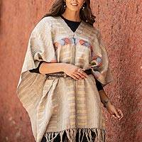 Cotton poncho, 'Lines in the Sand' - Handwoven Cotton Poncho with Line Patterns in Sand