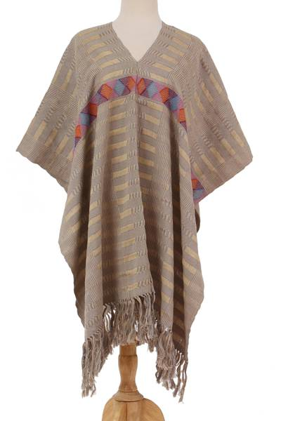 Handwoven Cotton Poncho with Line Patterns in Sand