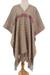 Cotton poncho, 'Lines in the Sand' - Handwoven Cotton Poncho with Line Patterns in Sand (image 2a) thumbail