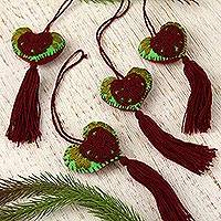 Cotton-embroidered wool ornaments, 'Maroon Bloom' (set of 4) - Cotton and Wool Ornaments with Maroon Flowers (Set of 4)