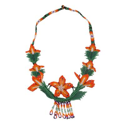 Floral Glass Beaded Statement Necklace from Mexico